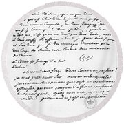 Letter To Voltaire From King Frederick Round Beach Towel