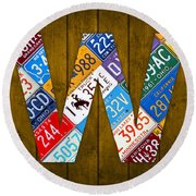 Letter W Alphabet Vintage License Plate Art Round Beach Towel
