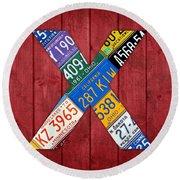 Letter X Alphabet Vintage License Plate Art Round Beach Towel