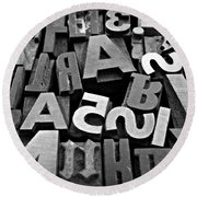 Letters And Numbers 1 Round Beach Towel