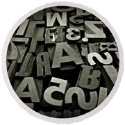 Letters And Numbers Gray Tones Round Beach Towel