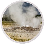 Letting Off Steam - Yellowstone Round Beach Towel