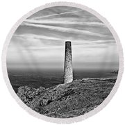 Levant To Pendeen View Black And White Round Beach Towel