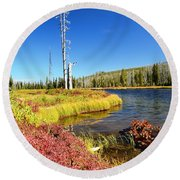 Lewis River Fall Round Beach Towel