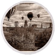 Lewiston Maine Hot Air Balloons Round Beach Towel