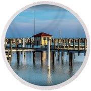 Lexington Harbor With No Boats Round Beach Towel