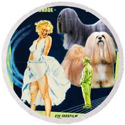 Lhasa Apso Art - The Seven Year Itch Movie Poster Round Beach Towel