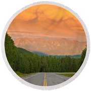 Liard River Valley Alaska Highway Bc Canada Sunset Round Beach Towel