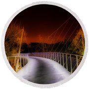 Liberty Bridge At Night Round Beach Towel