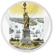 Liberty Enlightening The World  Round Beach Towel by War Is Hell Store