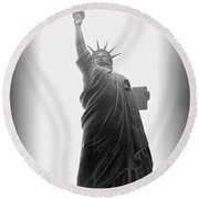 Liberty In Black And White Round Beach Towel