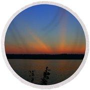 Liberty Sunset At West Thompson Lake  Round Beach Towel