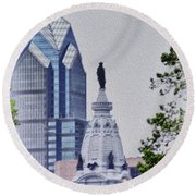 Liberty Place And City Hall Round Beach Towel