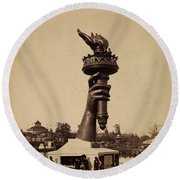 Liberty Torch At Philadelphia For Us Centennial 1876 Round Beach Towel