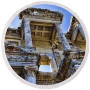 Library Of Celsus Round Beach Towel