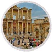 Library Of Celsus In Ephesus-turkey Round Beach Towel