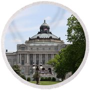 Library Of Congress - Thomas Jefferson Building Round Beach Towel