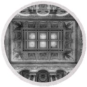 Library Of Congress Main Hall Ceiling Bw Round Beach Towel