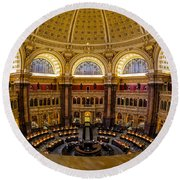 Library Of Congress Main Reading Room Round Beach Towel