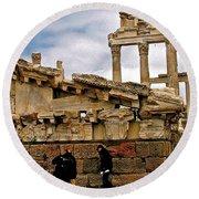 Library On The Pergamum Acropolis-turkey Round Beach Towel