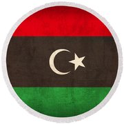Libya Flag Vintage Distressed Finish Round Beach Towel