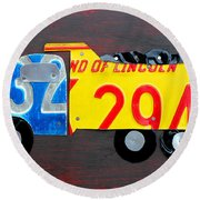 License Plate Art Dump Truck Round Beach Towel