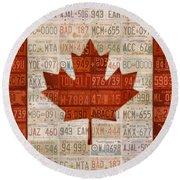 License Plate Art Flag Of Canada Round Beach Towel