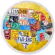 License Plate Art Map Of The United States On Yellow Board Round Beach Towel