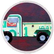 License Plate Art Pickup Truck Round Beach Towel