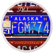 License Plate Round Beach Towel