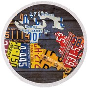 License Plate Map Of Canada Round Beach Towel