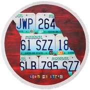 License Plate Map Of Missouri - Show Me State - By Design Turnpike Round Beach Towel by Design Turnpike