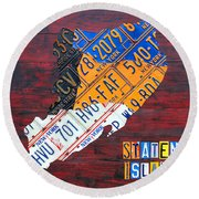 License Plate Map Of Staten Island New York Nyc Round Beach Towel