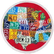 License Plate Map Of The United States On Bright Red Round Beach Towel
