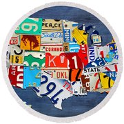 License Plate Map Of The United States - Small On Blue Round Beach Towel