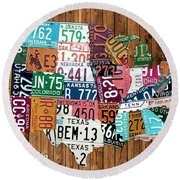 License Plate Map Of The United States - Warm Colors On Pine Board Round Beach Towel by Design Turnpike