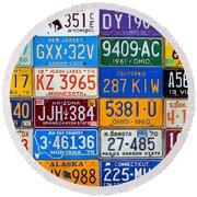 License Plates Of The Usa - Our Colorful American History Round Beach Towel