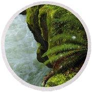 Lichen Covered Rocks With Stream In Oregon Round Beach Towel