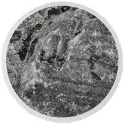 Lichen On The Whistlers - Black And White Round Beach Towel