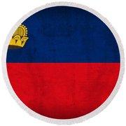 Liechtenstein Flag Vintage Distressed Finish Round Beach Towel