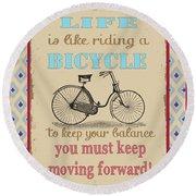 Life-bicycle Round Beach Towel