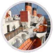 Life Boats 01 Queen Mary Ocean Liner Port Long Beach Ca Round Beach Towel