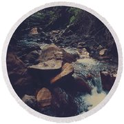 Life Flows On Round Beach Towel by Laurie Search