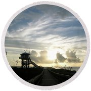 Life Guard Tower And Jetty At Dawn 9-27-14 By Julianne Felton Round Beach Towel