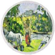 Life In The Fields Round Beach Towel