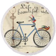 Life Is A Beautiful Ride Round Beach Towel