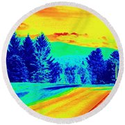 Life Is A Highway Round Beach Towel