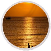 Life Is Beautiful Round Beach Towel by Adrian Evans