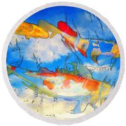 Life Is But A Dream - Koi Fish Art Round Beach Towel by Sharon Cummings
