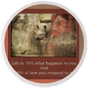 Life Is Moments Of Camouflage Round Beach Towel